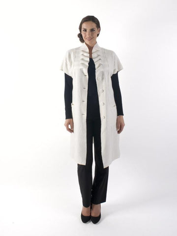 Cream Boiled Wool Sleeveless Coat