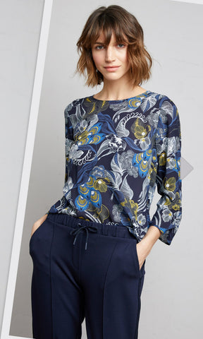 Gerry Weber Peacock Print Long Sleeve Jumper