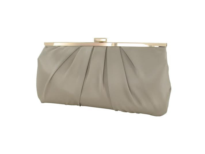 Taupe Satin Gold Metal Clasp Clutch Bag