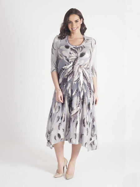 Silver Grey Feather Print Jersey Dress Chesca