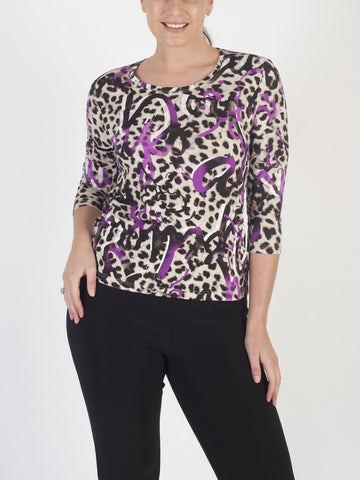 FRANK WALDER Beige And Pink Animal Print Top
