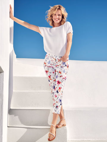 Gerry Weber White/Pink Floral Print Crop Trouser
