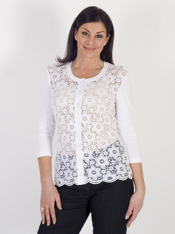 Gerry Weber White Lace-front Cardigan