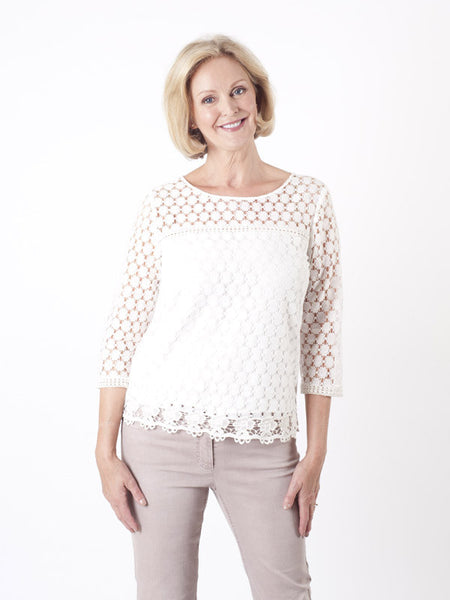 Gerry Weber Ivory Circle Lace Top