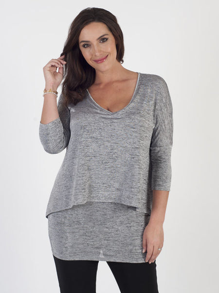 Joseph Ribkoff Silver Grey Double Layered Top