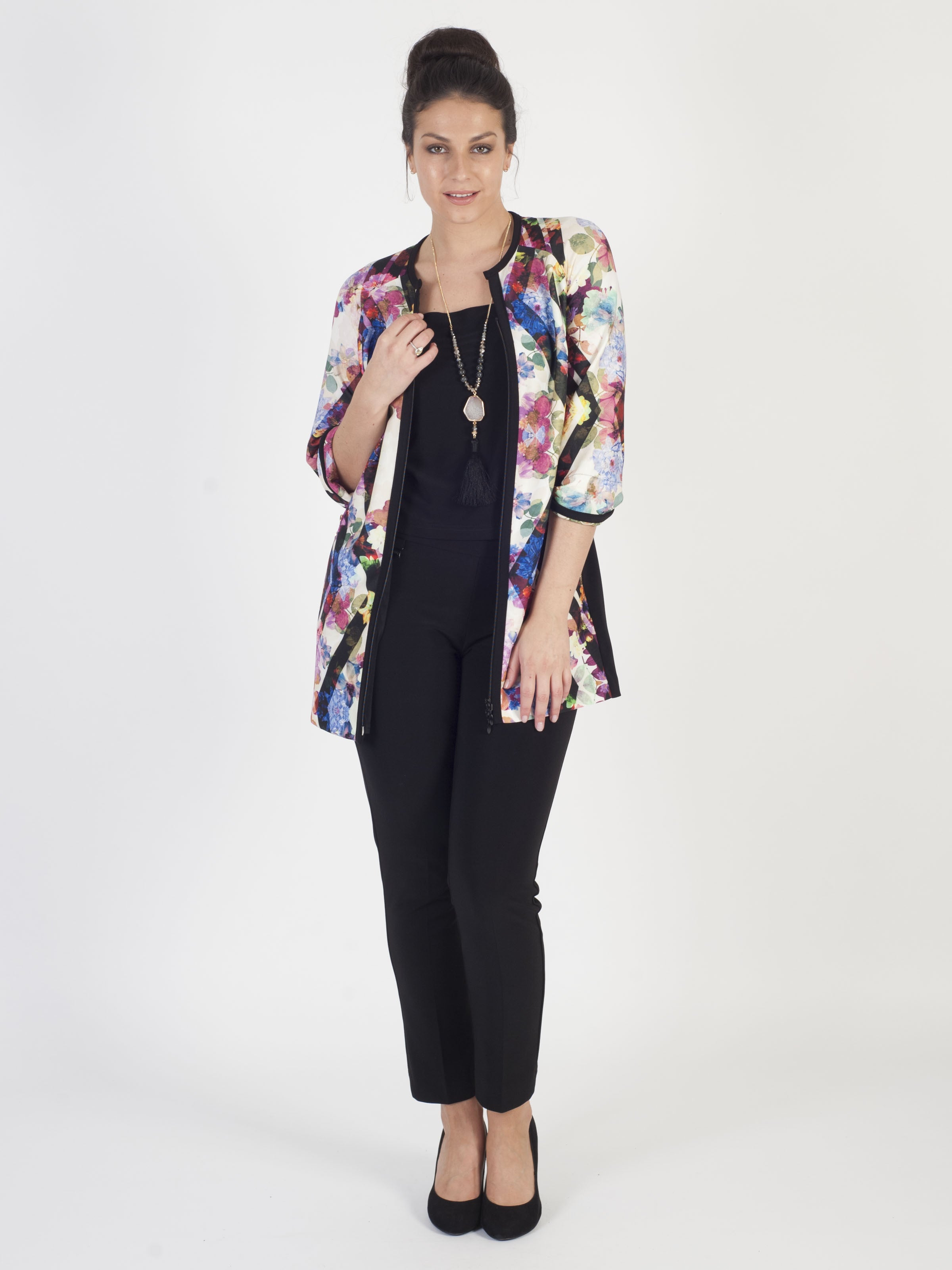 Joseph Ribkoff Black/Multi Floral print long line jacket