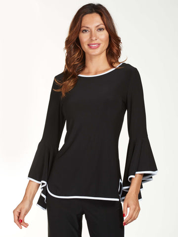 Frank Lyman Black Jersey Top With White Trim