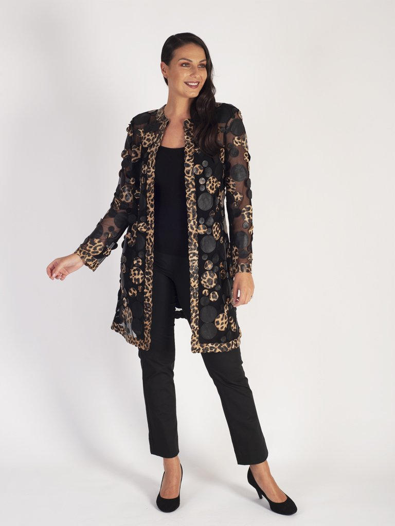 Blk/Beige Leopard & Plain Irregular Spot Applique Leather On Mesh Coat