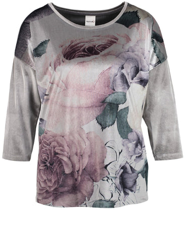 TAIFUN Rose-print Velvet Top
