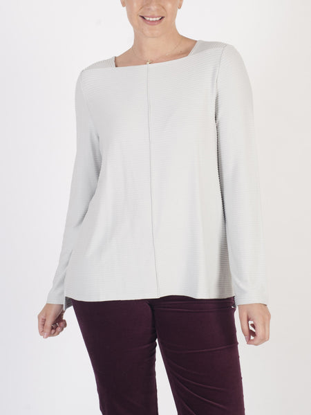 VETONO Pale Grey Ribbed Top