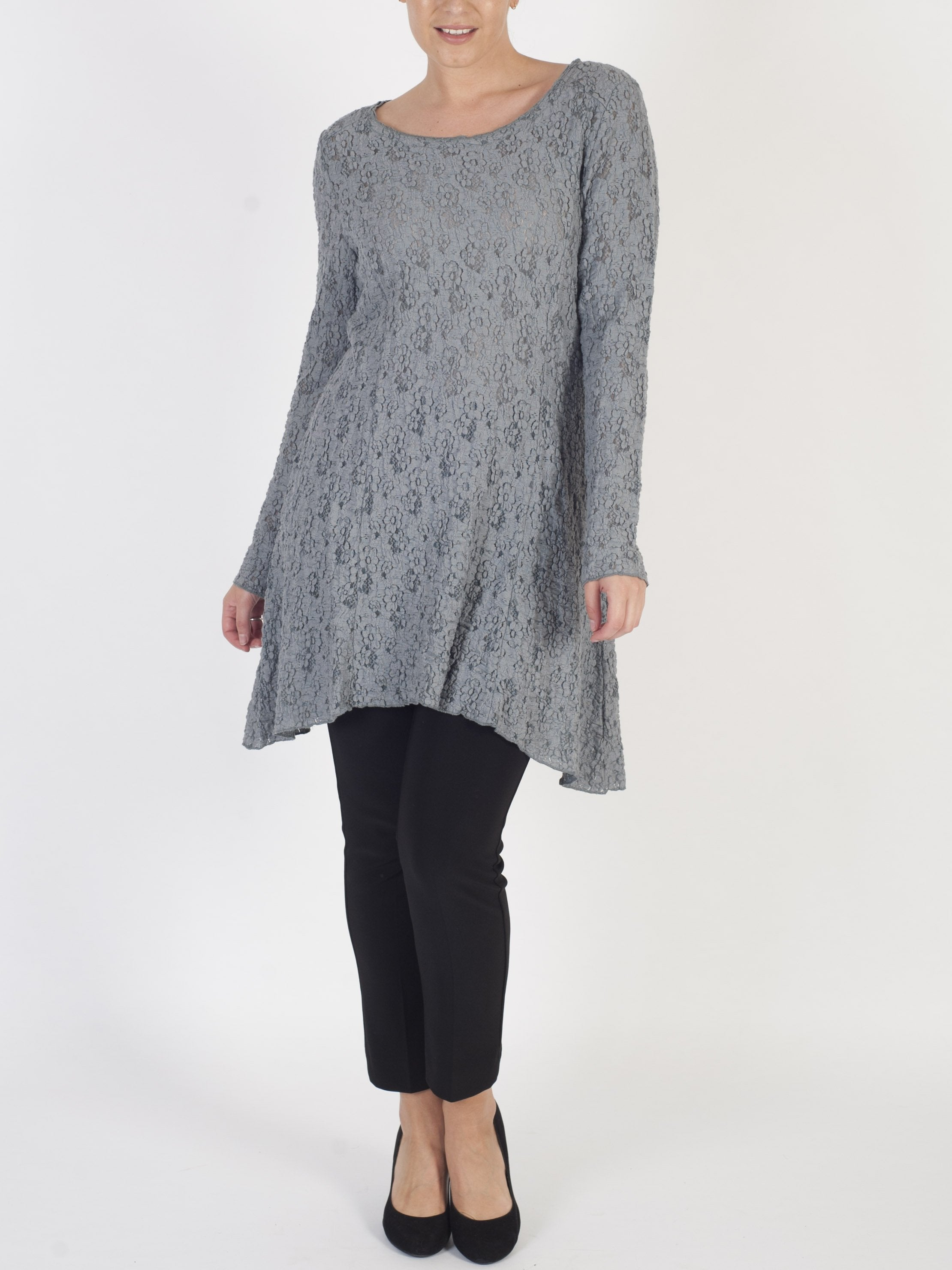 VETONO Grey Lace Tunic