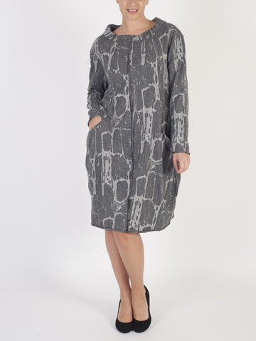 Vetono Grey Printed ¾ Sleeve Dress