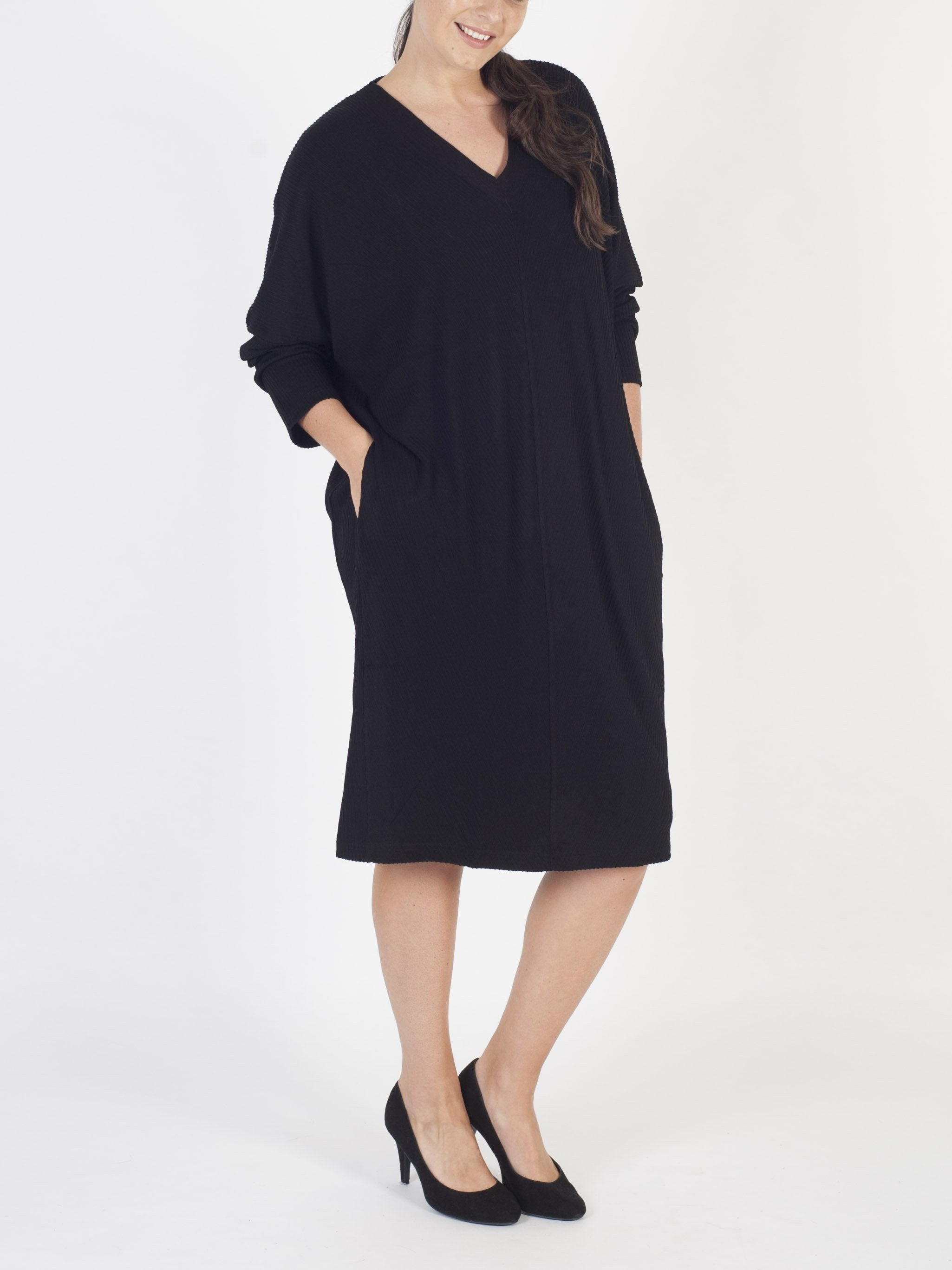 VETONO Black Jersey Cocoon Dress