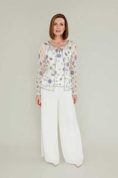 Gina Bacconi Cream/Lilac Beaded camisole and matching jacket