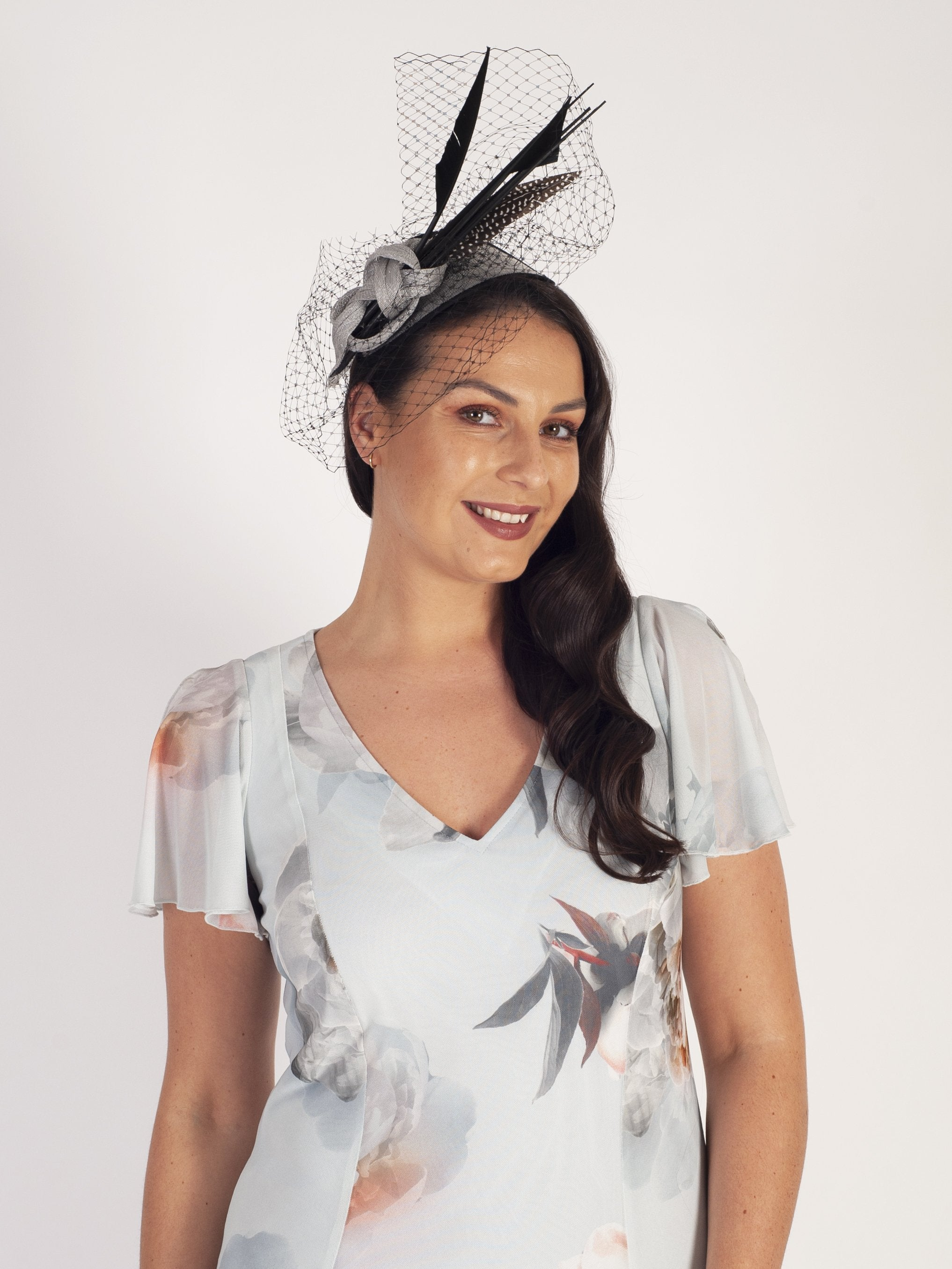 Silver & Black Spotted Feather Fascinator