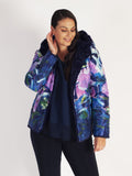 Purple Fur Lined Hibiscus Print Short  Reversible Hooded Quilted Jacket