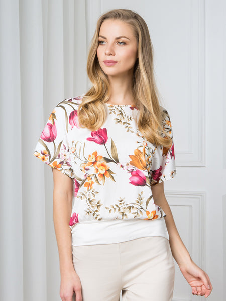 Passioni Cream Ground Floral Print T-Shirt