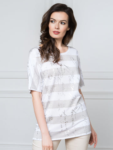 Passioni Silver/White Stripe T-Shirt With Writing