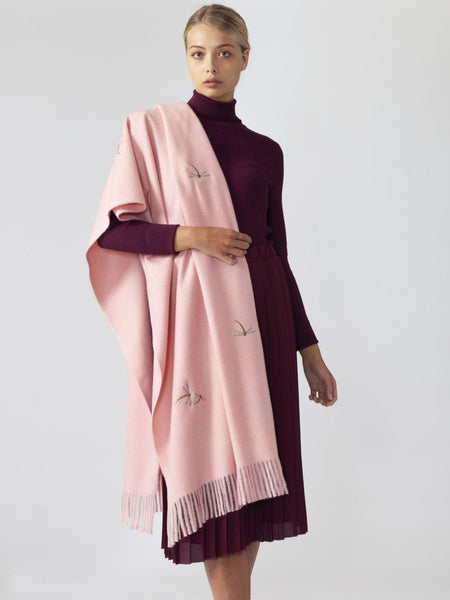 Pink Cashmere Blend Dragonfly Wrap