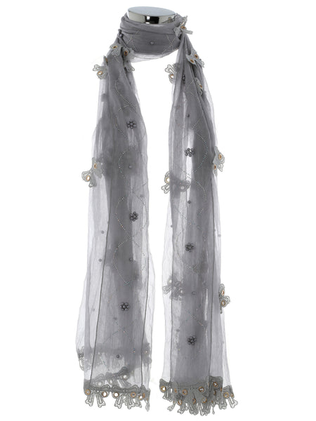 Light Grey Pearl, Diamond And Bow Scarf