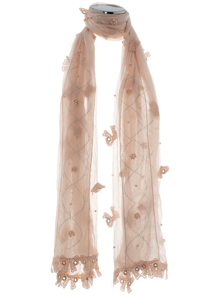 Light Pink Pearl, Diamond And Bow Scarf