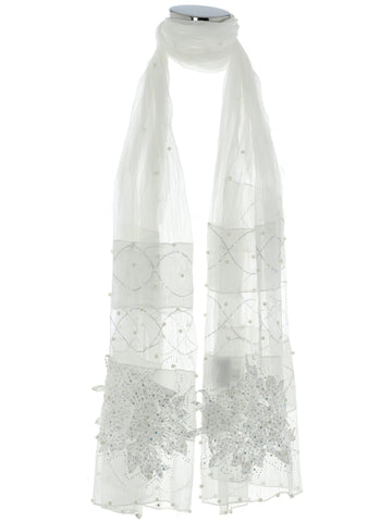 White Pearl, Diamond And Bow Scarf
