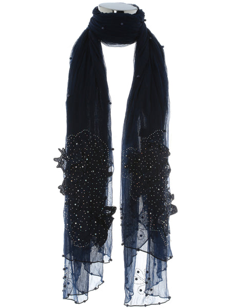 Navy Pearl Scarf