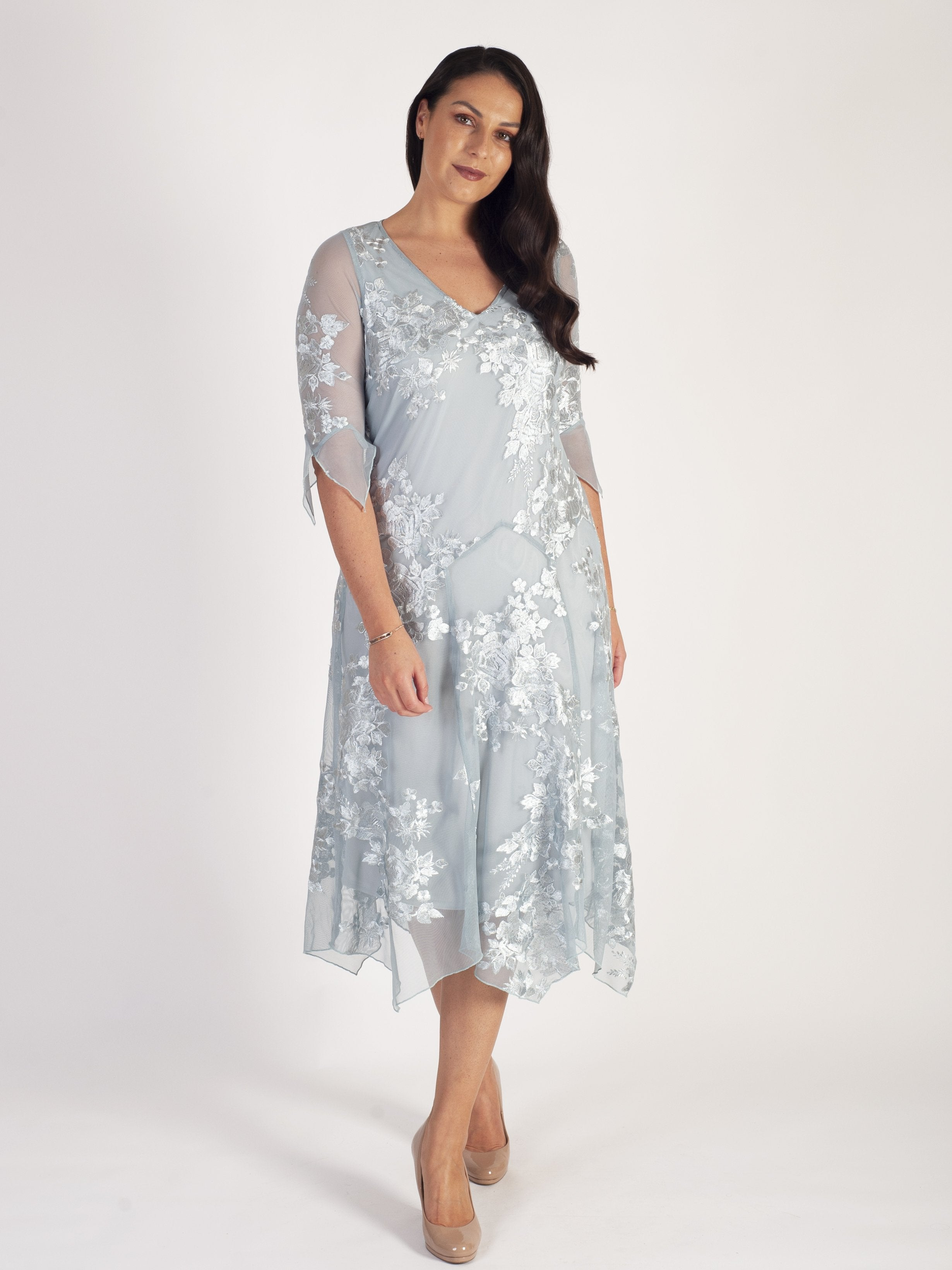 Aqua Trailing Floral Self Embellished Mesh Dress