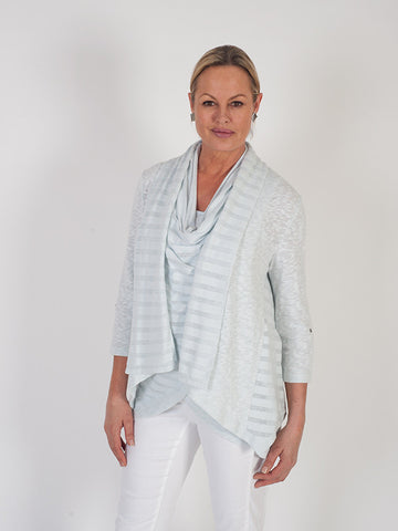 Vetono Light Blue Mixed Fabric Jersey Cardigan