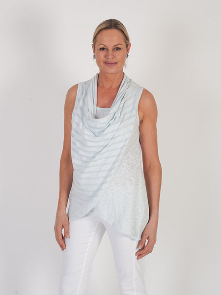 Vetono Light Blue Cowl Neck Wrap Sleeveless Top