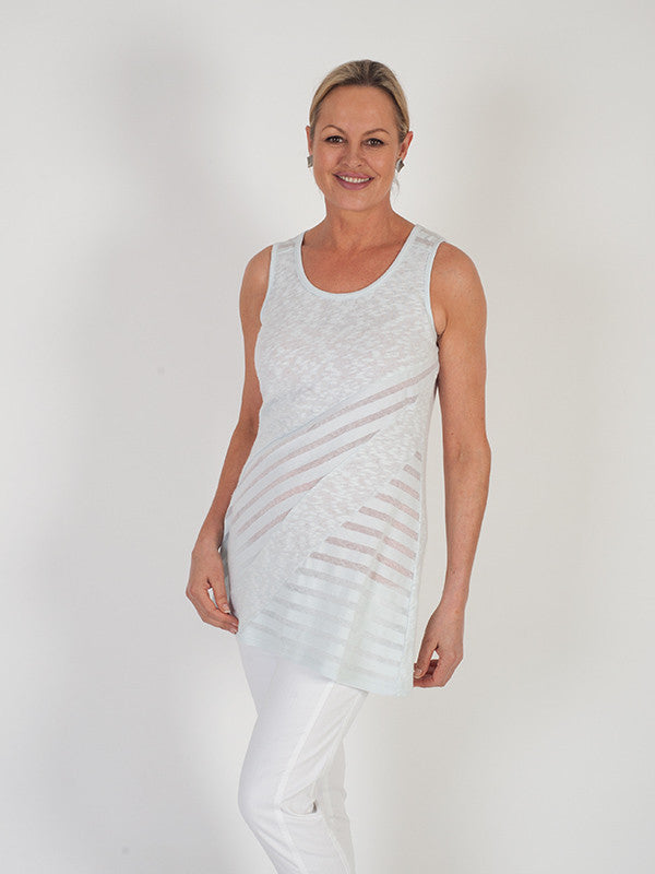 Vetono Light Blue Mixed Fabric Jersey Sleeveless Top