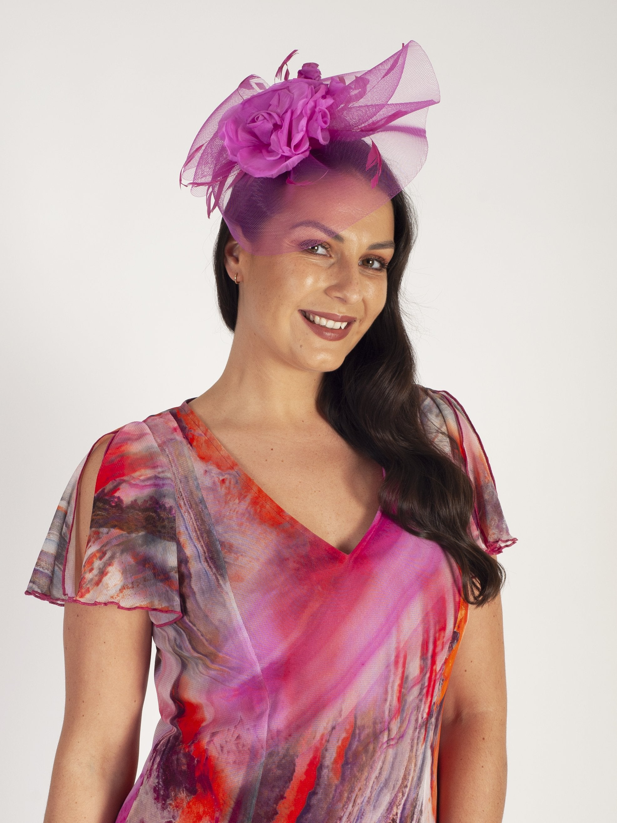 Lipstick Pink Crin Fascinator With Flower & Feathers