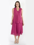 Finest FRENCH LINEN Deep Pink Tiered Skirt