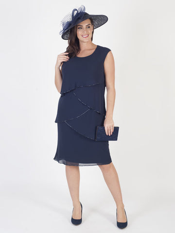 Dark Navy Bead Trim Multi Layered Chiffon Dress