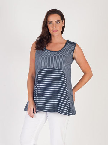 Navy Mixed Stripe Linen Camisole