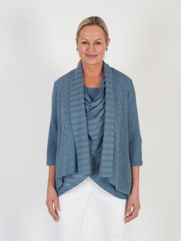 Vetono Steel Blue Mixed Fabric Jersey Cardigan