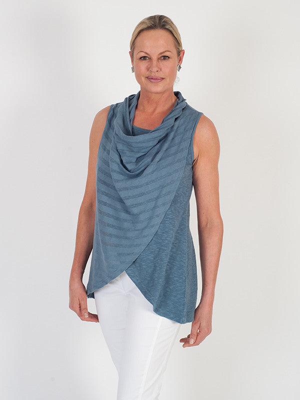 Vetono Steel Blue Cowl Neck Wrap Sleeveless Top