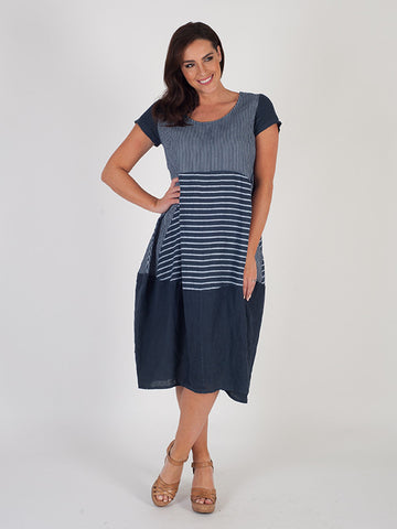 Navy Mixed Stripe Linen Dress