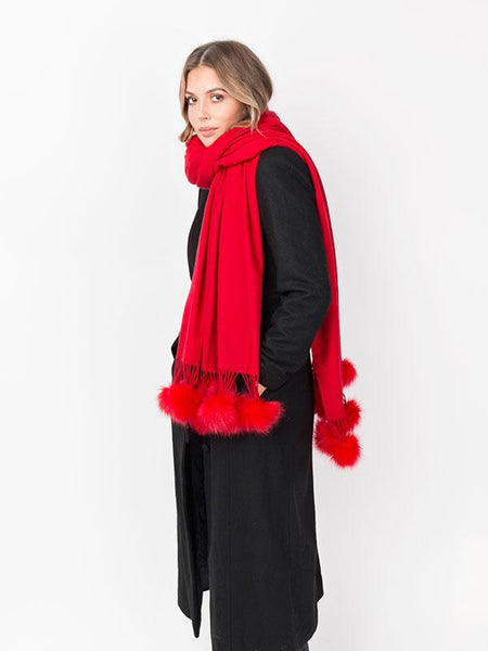 Red Scarf with Fur Pom Pom Fringing