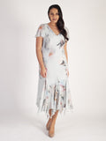 Aqua Large Peony Print Trimmed Godet Mesh Dress With Angel Sleeve