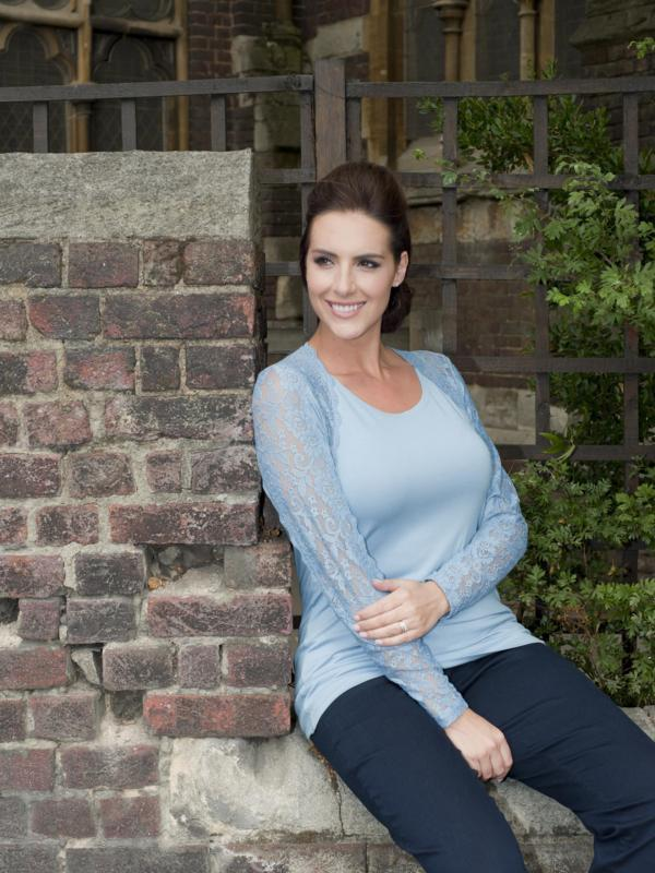 Powder Blue Lace Trim Long Sleeve Jersey Top
