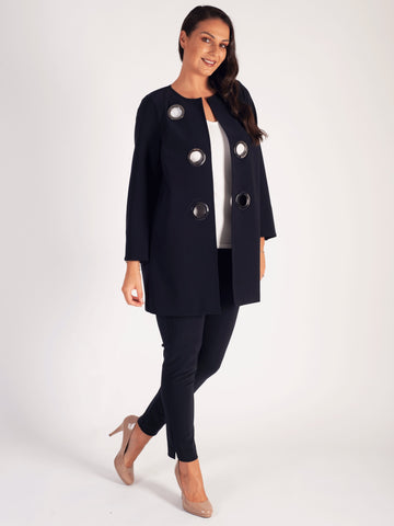 Navy Eyelet Trim Split Cuff Coat
