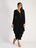 Black Zip Detail Jersey Drape Dress