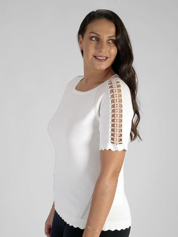 Ivory Scoop Neck Pearl Trim Sleeve Jumper