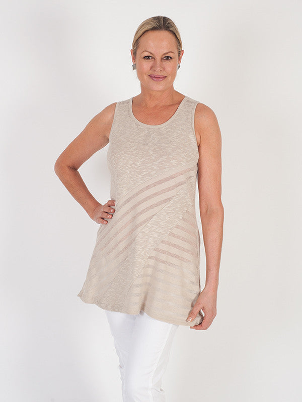 Vetono Stone Mixed Fabric Jersey Sleeveless Top