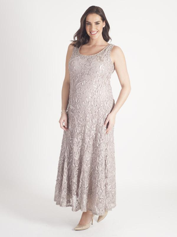 Mink Cornelli Embroidered Lace Dress