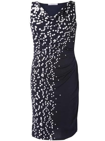 Navy/White Spot Border Print Jersey Dress