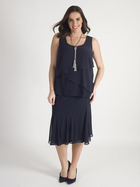 Dark Navy Chiffon Skirt