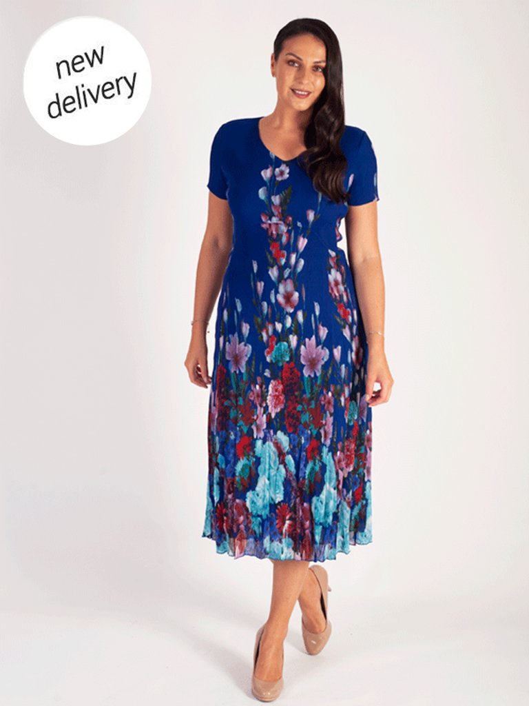 Cobalt Floral Border Print Crush Pleat Dress