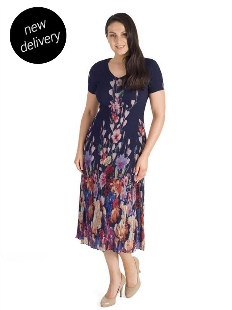 Navy Floral Border Crush Pleat Chiffon Dress